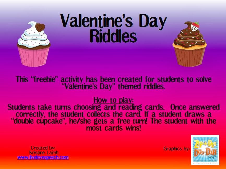 Speechie Freebies Valentines Day Riddles