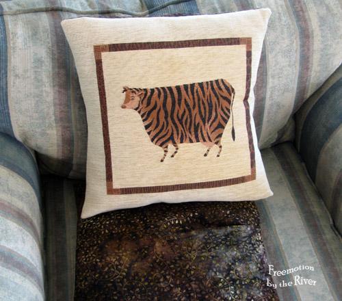 Tiger striped cow pillow with batik back