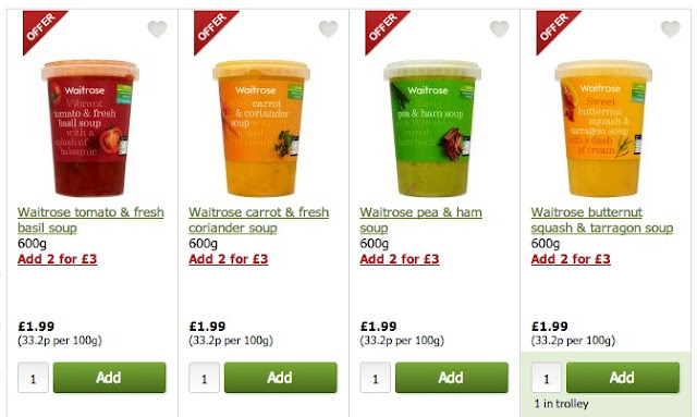 waitrose soups - always offers on