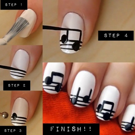 Music Note Nails tutorial