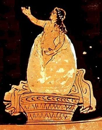 Helena, hija de Zeus y Leda, naciendo del huevo que puso su madre