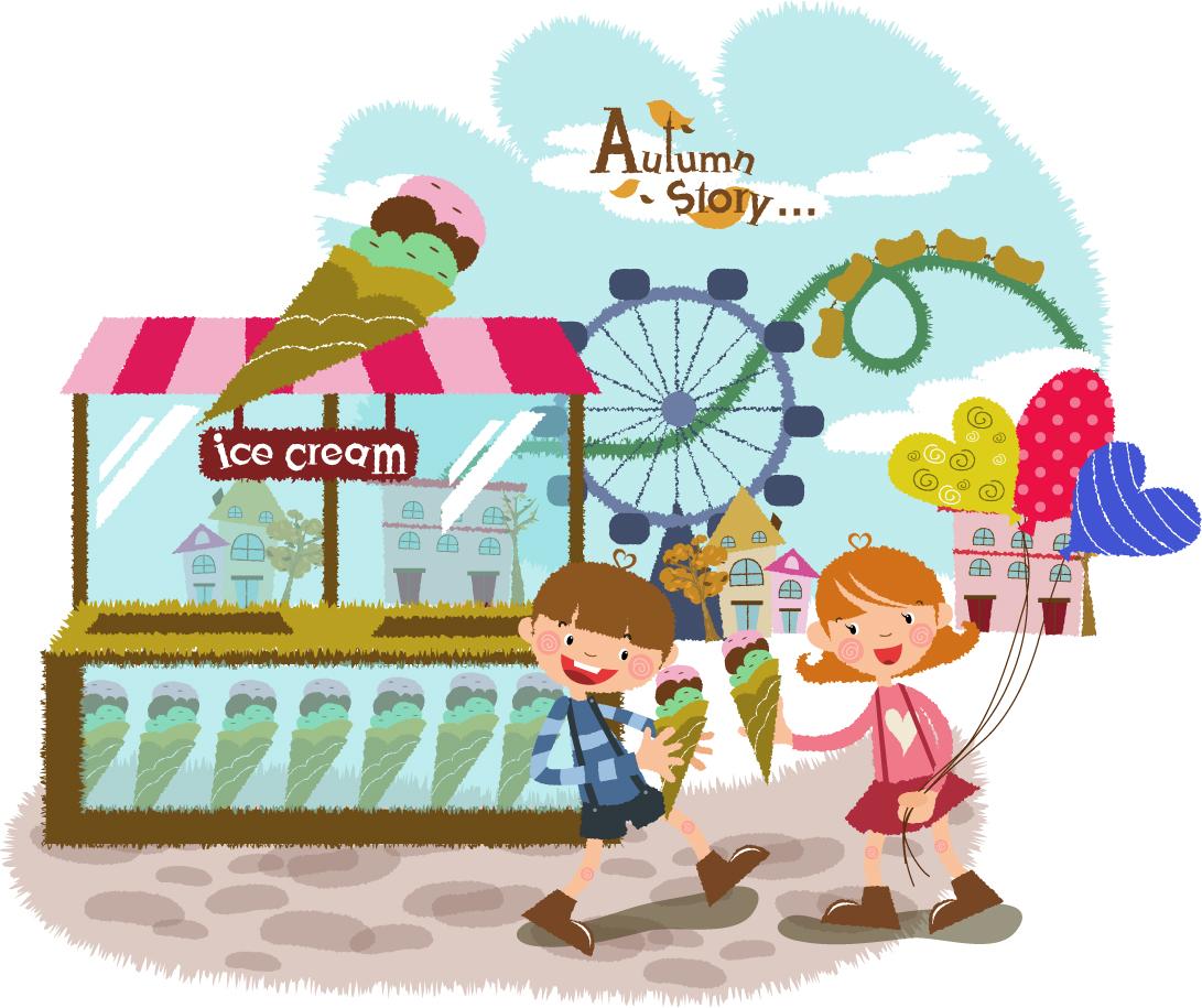 楽しく遊ぶ子供 Fun play children イラスト素材4