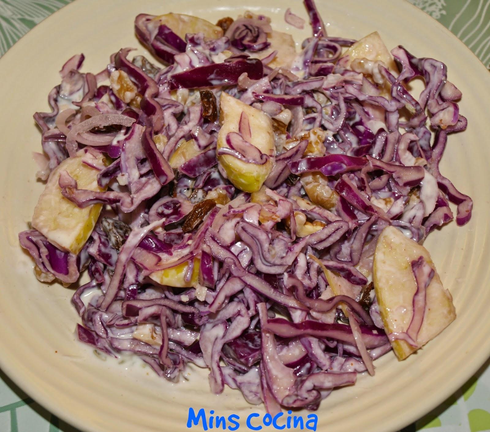 Cocinar Lombarda Con Manzana | Ensalada De Lombarda Y Manzana Con Pasas Nueces Y Alino De Yogur E