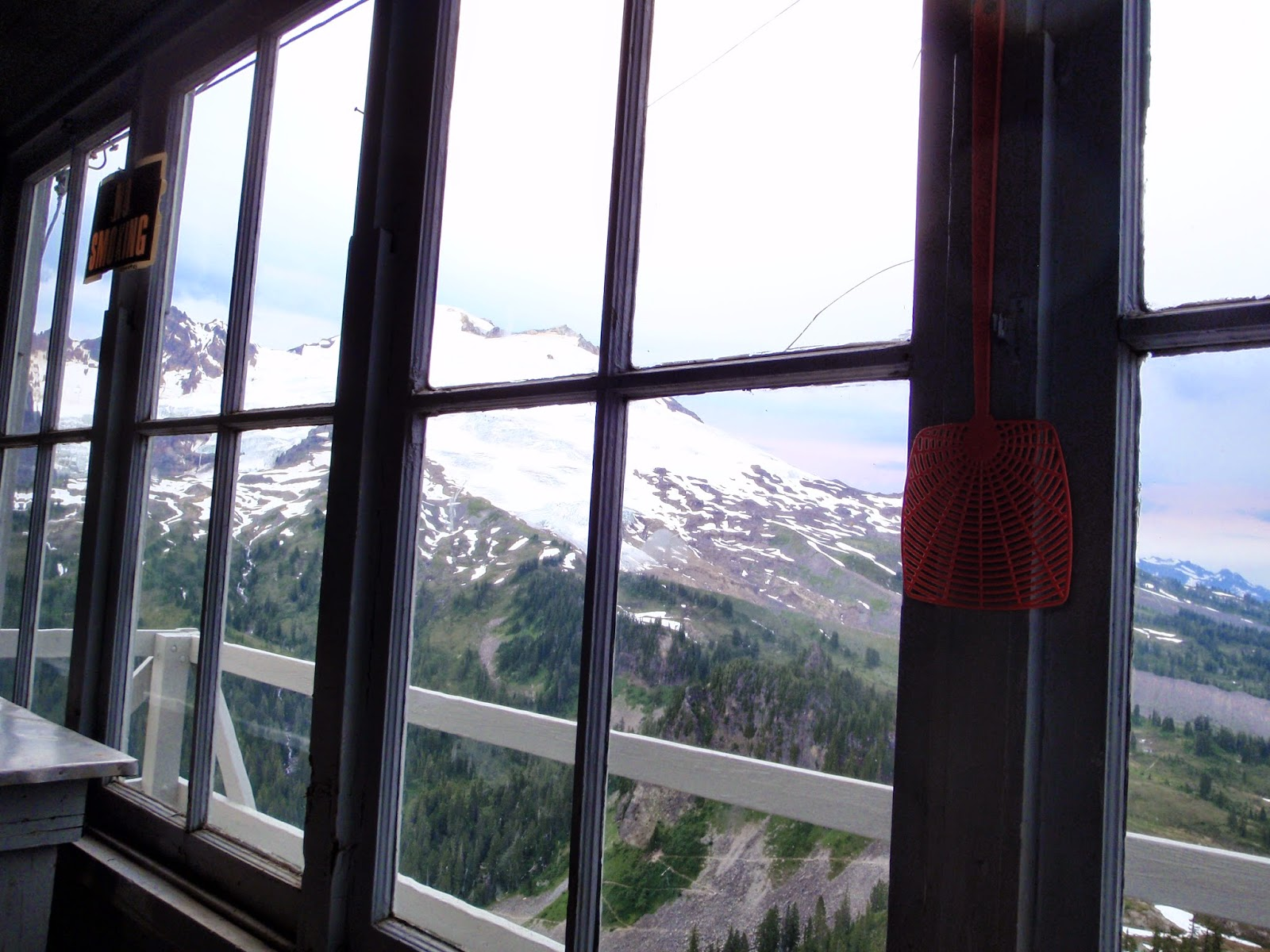View out from Park Butte fire lookout at Mt Baker