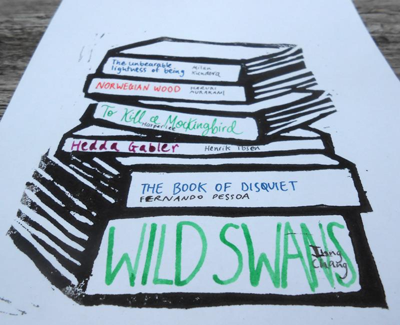 https://www.etsy.com/listing/193005191/custom-book-stack-linocut-print-literary