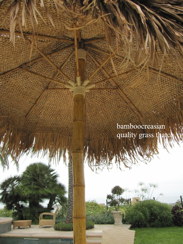 9 Ft Asian Thatch Umbrella Solid Bamboo Frame Palapa Set