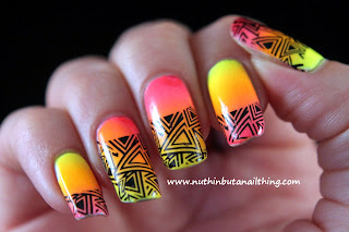 Born Pretty Store - Triangle Pattern Water Decals gradient nail art