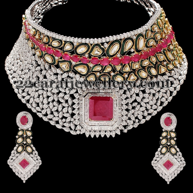 Bridal Choker with Ruby Polki Rows