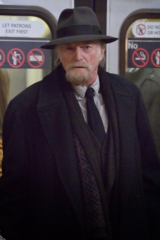 David Bradley as Jewish Holocaust survivor and pawn shop owner Abraham Setrakian in the train station in The Strain Season 1 Episode 8 Creatures of the Night