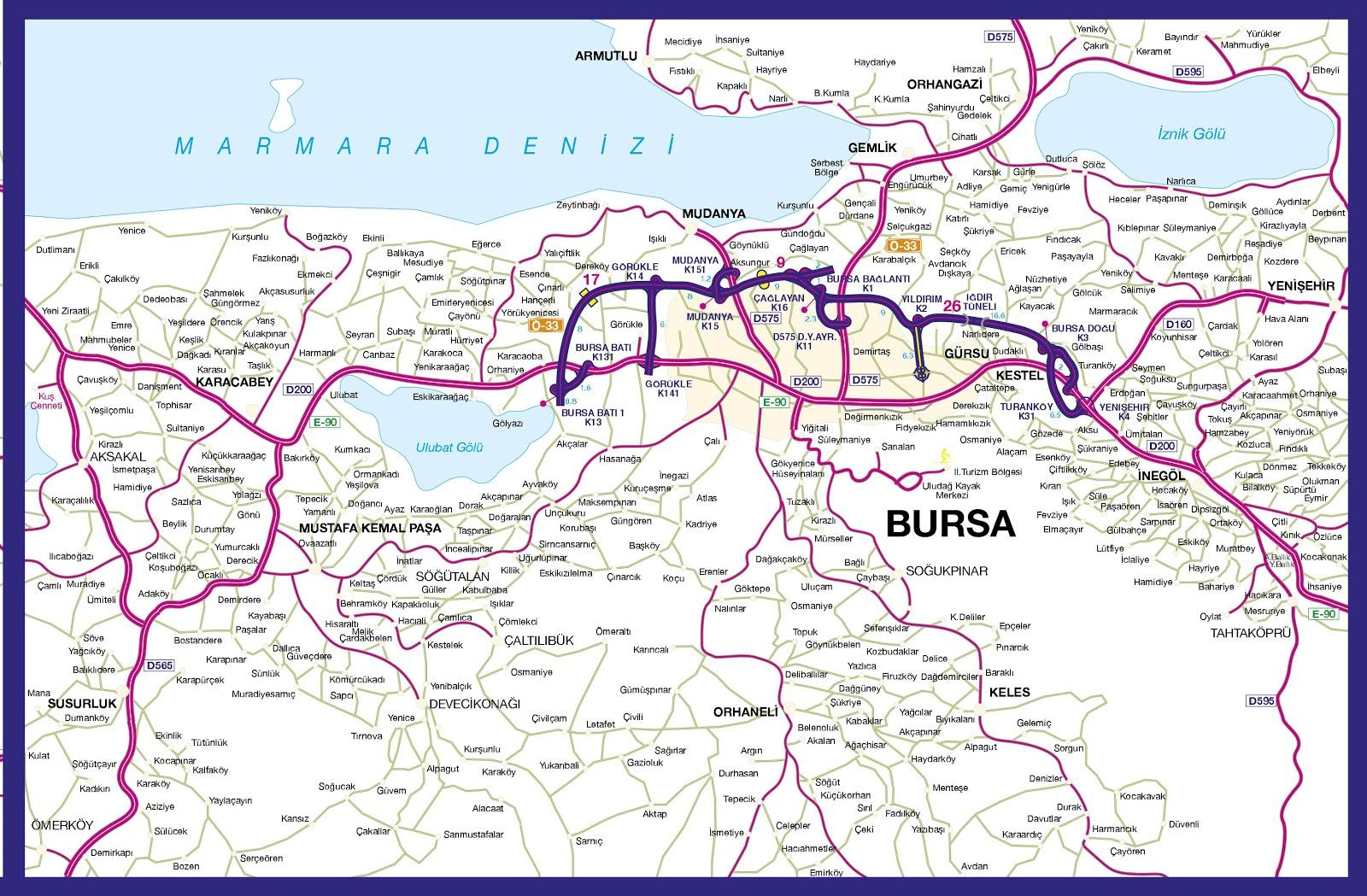 Turkey Tourist Maps Bursa maps