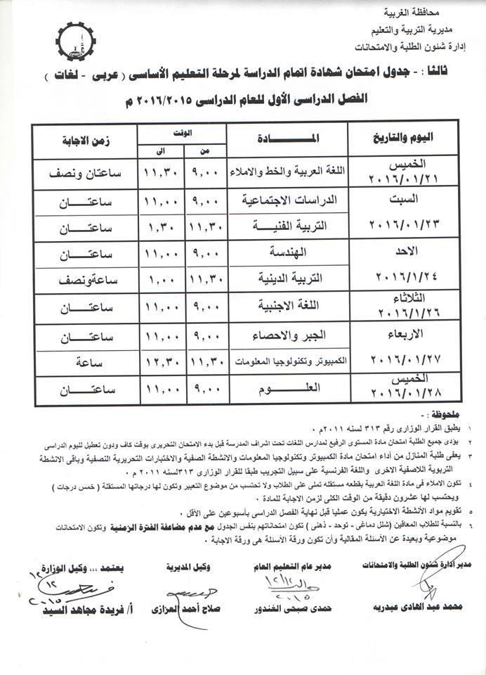 جدول إمتحانات الصف السادس الابتدائى الفصل الدراسي الأول