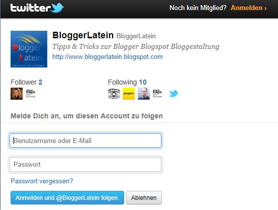 Twitter Folgen Button bei Blogger Blogspot einbinden