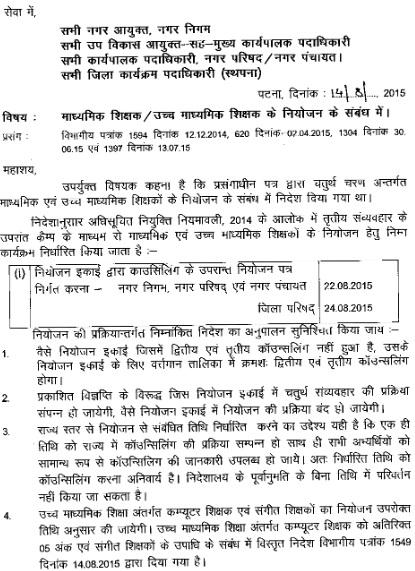 Bihar Madhyamik Shikshak Niyojan 2015