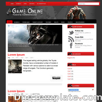 GameOnline blogger template. blogger template 3 column footer. game template blogspot free