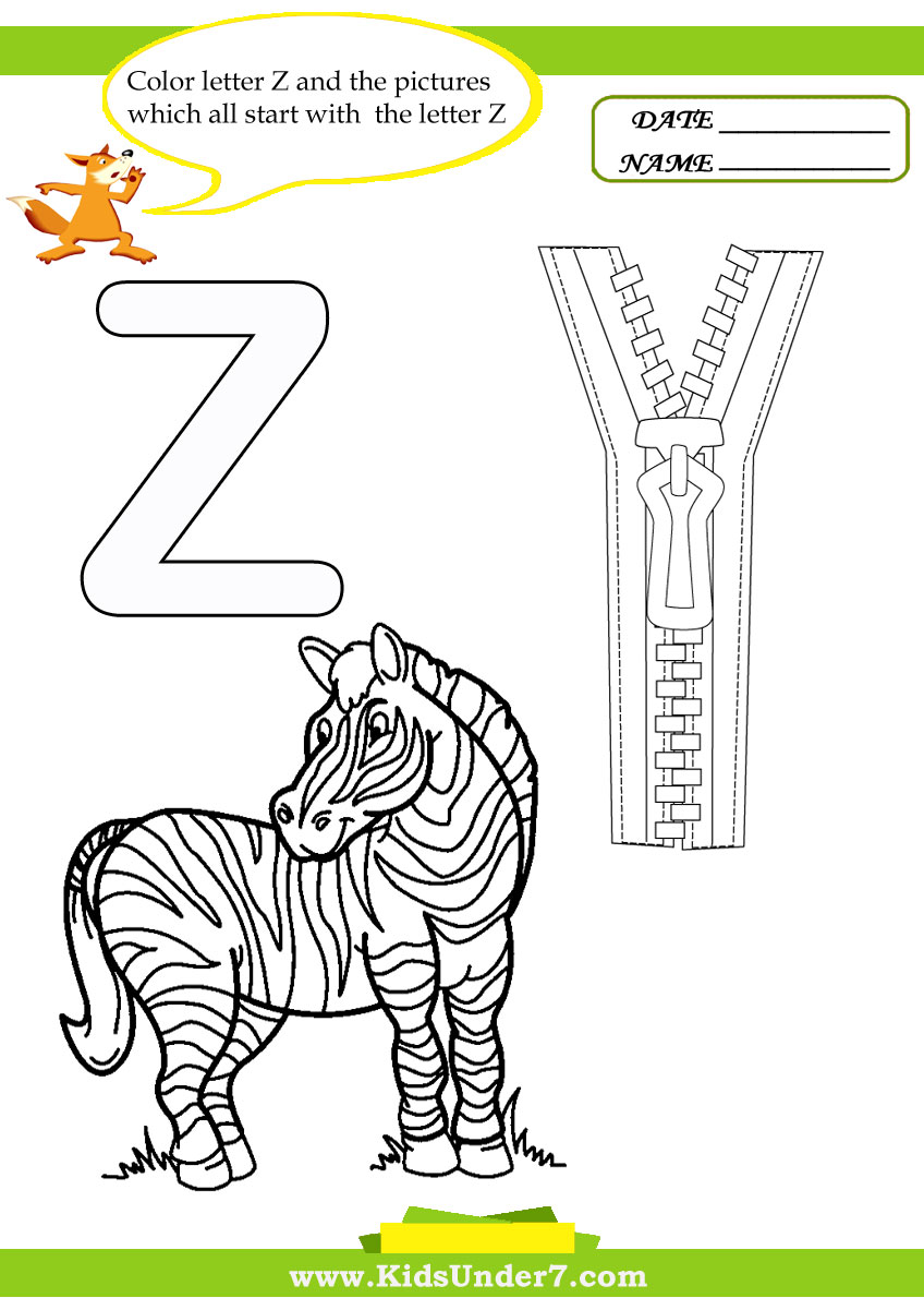 Worksheets Letter Z Worksheets kids under 7 letter z worksheets and coloring pages
