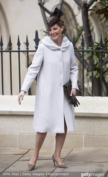 Sophie, Countess of Wessex leaves the Easter Sunday service at St George's Chapel at Windsor Castle