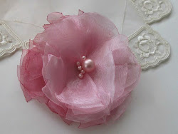 Pink tones organza brooch or hair clip