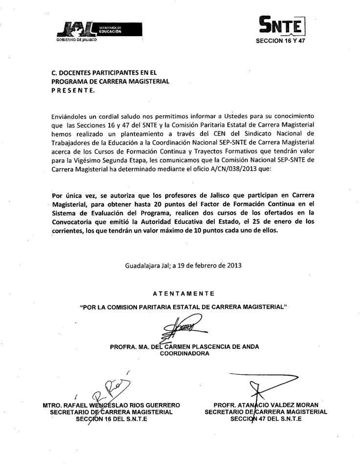 ACUERDO SEP-SNTE SOBRE CURSOS DE CARRERA MAGISTERIAL