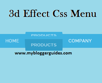 3D Effect Menu Bar For Blogger Blog