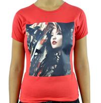 camiseta personalizada em transfer opaco cor vermelha