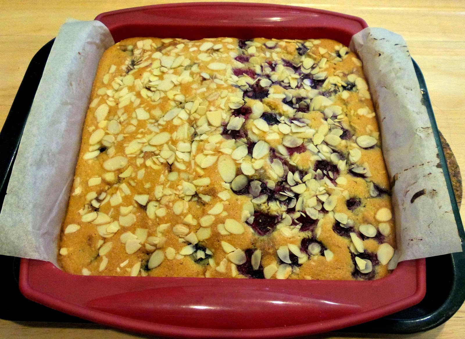 Cherry and Raspberry Bakewell Magic Bean Cake