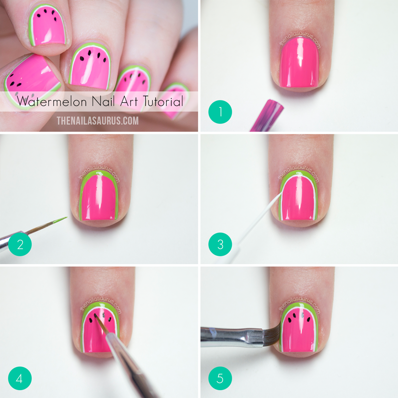 Nail Art Yang Simple In Addition Watermelon Nail Art Tutorial Further ...