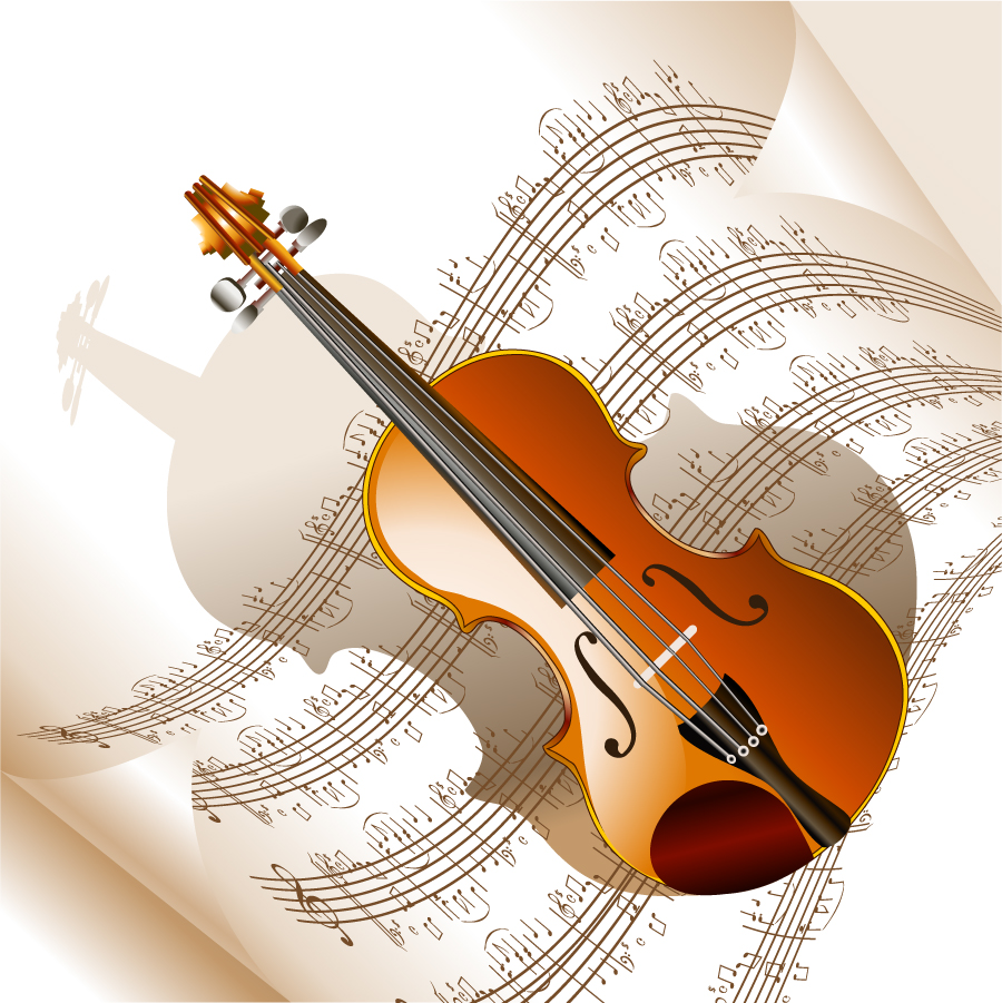 管弦楽器と楽譜のお洒落な背景 read music and musical instruments イラスト素材