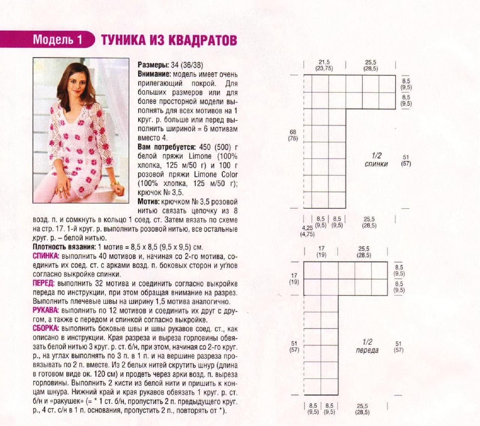 Вязание туники из квадратов