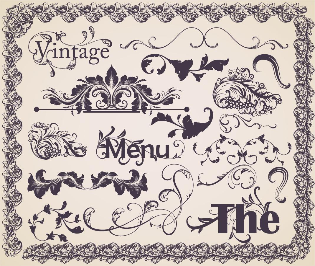 古典的な飾り罫のセット european gorgeous pattern vector イラスト素材