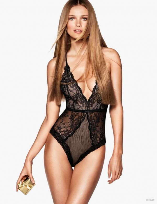Edita Vilkeviciute wears sheer lace designs for the H&M Lingerie Holiday 2014 Lookbook