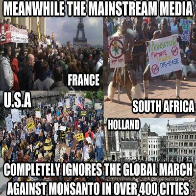 "Montage of images from marches against Monsanto with grammatically and factually inaccurate claim: ""Meanwhile the mainstream media completely ignores [sic] the global March Against Monsanto in over 400 cities."""