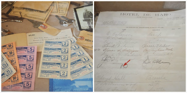 Hotel del Haro display: Roche Harbor Lime Company scrips and guest book.