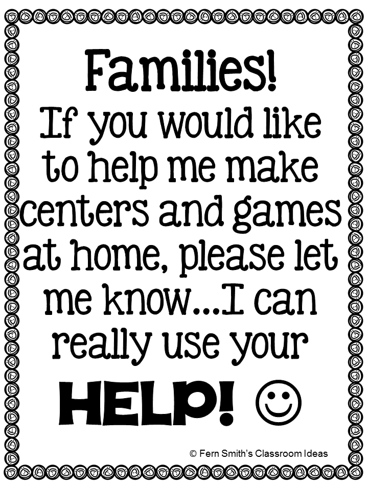 Fern Smith's FREE Stay At Home School Volunteer Request Poster