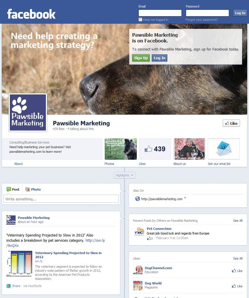 Example facebook page timeline
