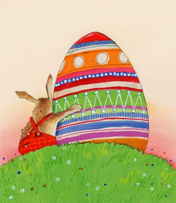 Easter illustration of Easter bunny and decorated egg