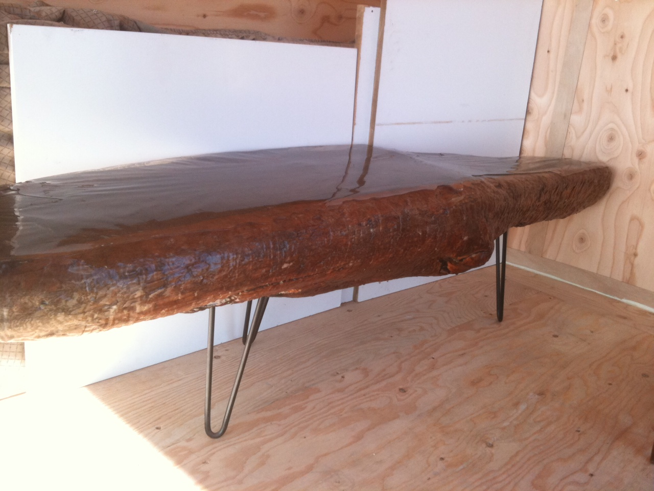 Mk retro sold burl wood table bench w hair pin legs