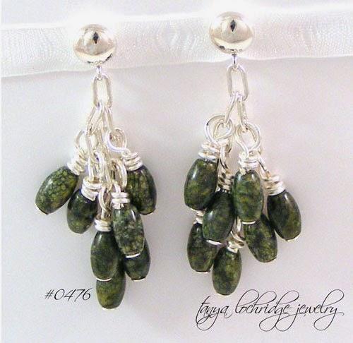 Russian Jade Cluster Gemstone Sterling Silver Earrings