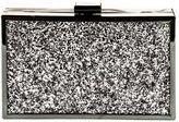 Jessica McClintock glitter metal clutch, glitter clutch holiday, grey glitter purse, silver shiny clutch, holiday bling purse