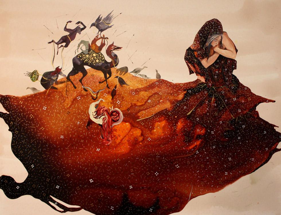 Artista Shiva Ahmadi. Brown Veil, 2011. Técnica mista. 35 X 45cm.