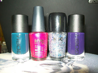 thats the way the cookie crumbles, nail varnish, nail polish, nail lacquer, nails, cosmetics, make up, NYC, New York Color, Gosh, fairytale, Deep Purple, Midtown, Lights, camera, glitter