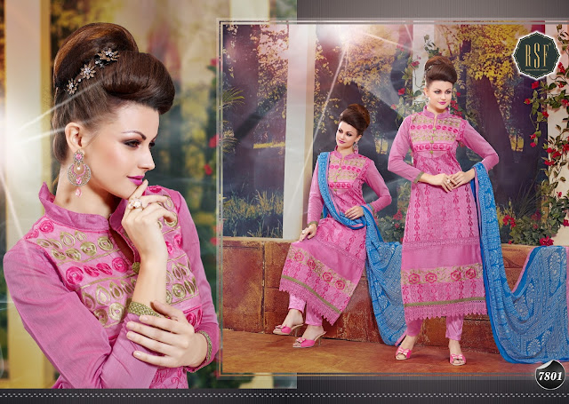Latest Chanderi Cotton Straight Cut Salwar Kameez