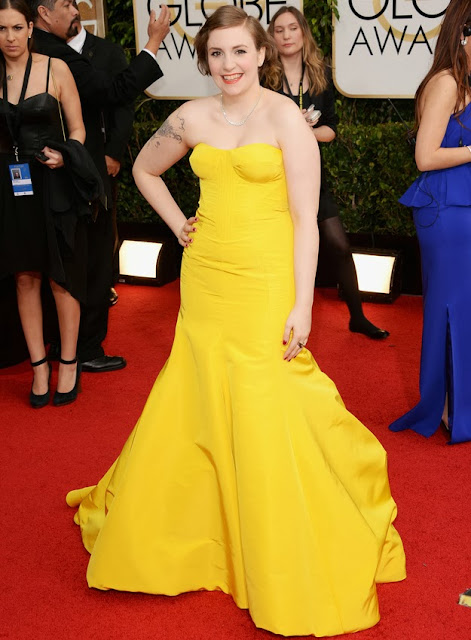 Lena Dunham in Zac Posen at the Golden Globes