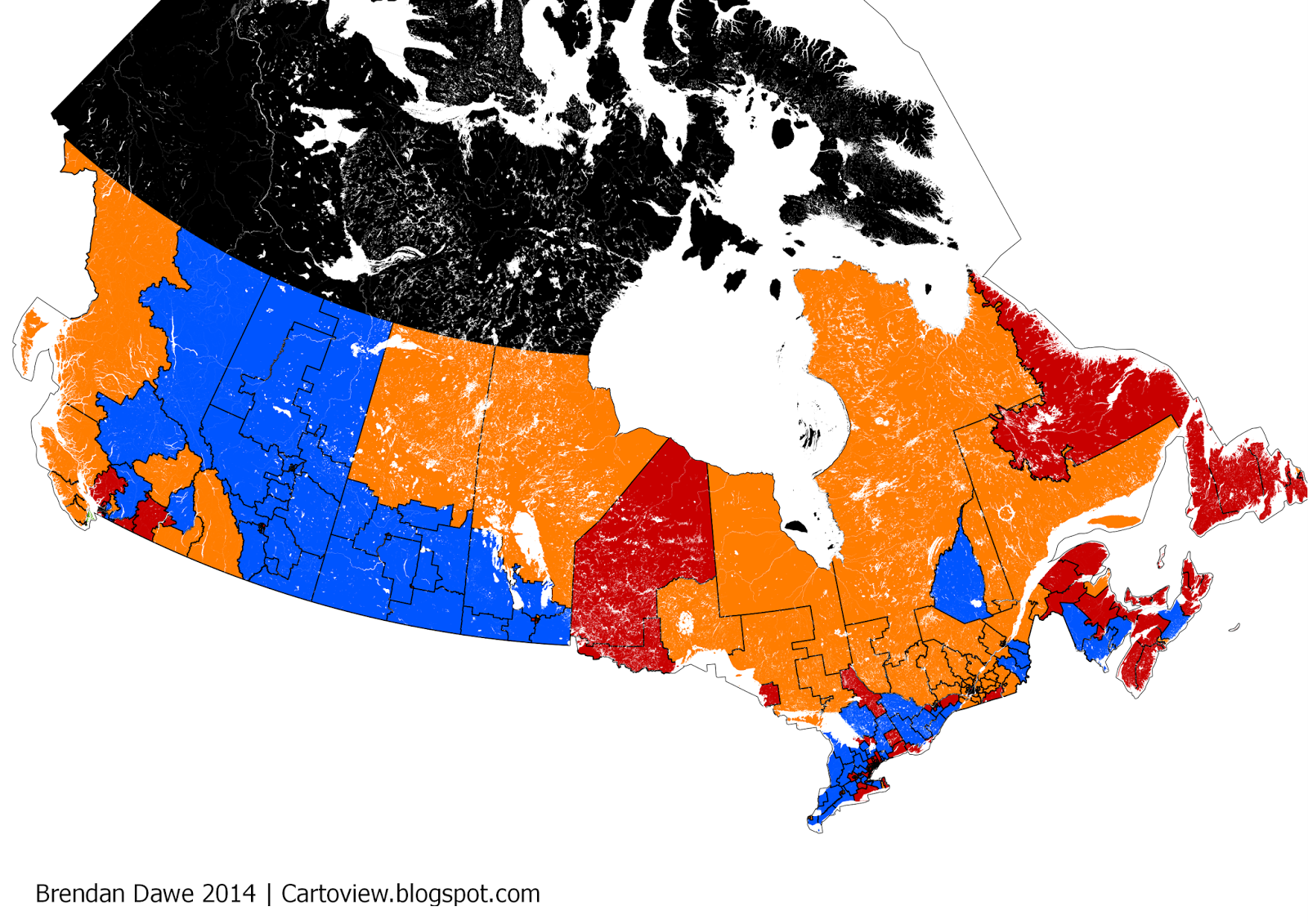 much has been made of the august ekos poll that came out lately putting the tories down to dion esque levels of support in a quick post here is the map