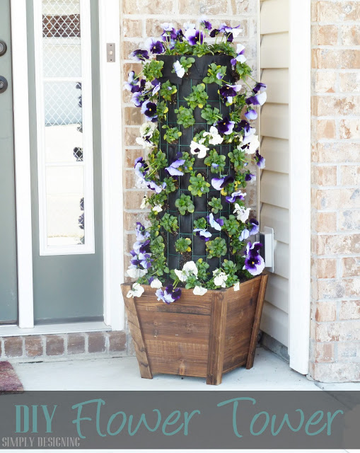 Flower Tower DIY Window Planter Pots #flower #flowertower #planter #outdoorplanter #outdoor @SimplyDesigning