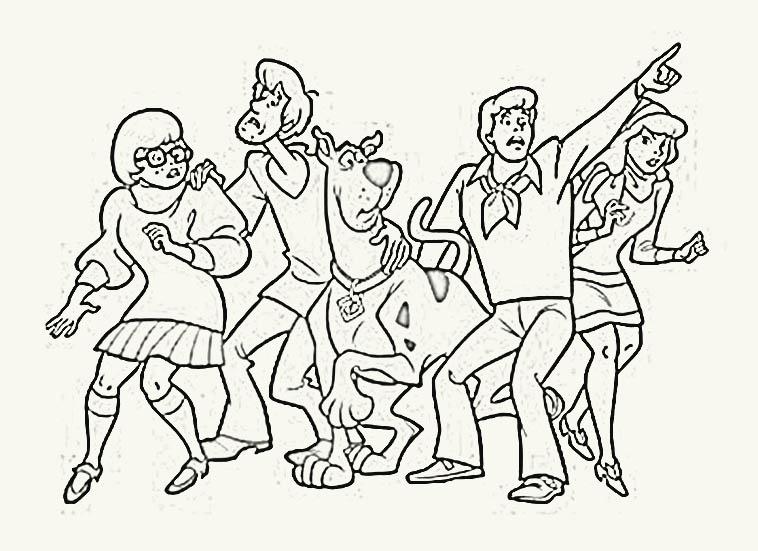 colorear y dibujar: pintar y colorear personajes de scooby-doo