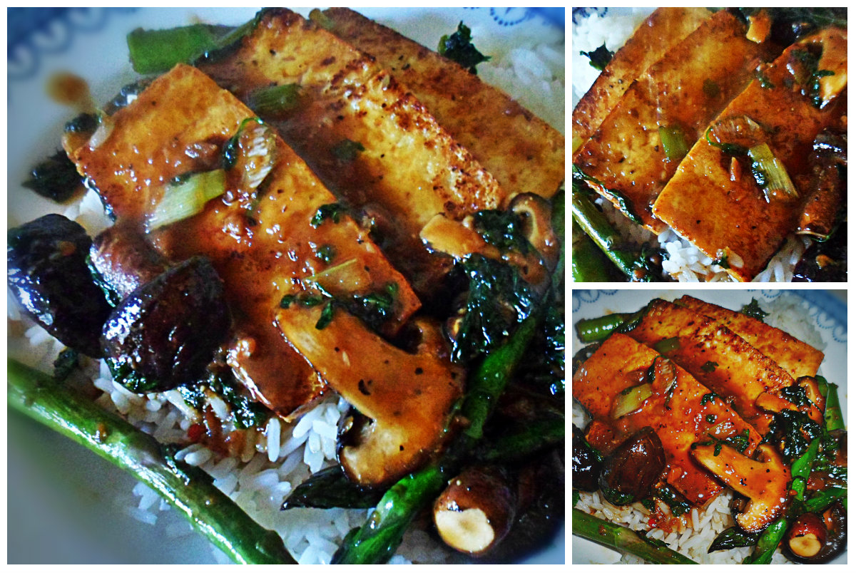 Miso, Ginger and Coriander Glazed Tofu with Shiitake Mushrooms and ...