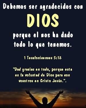 ser agradecidos con DIOS