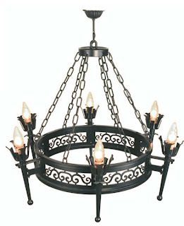 lampara de forja 6 brazos, lampara rustica forja, lampara de salon forja, lampara hosteleria
