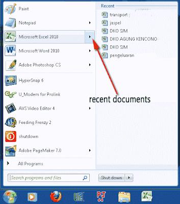 membuka dokumen dokumen yang baru saja dibuka tanpa harus membuka