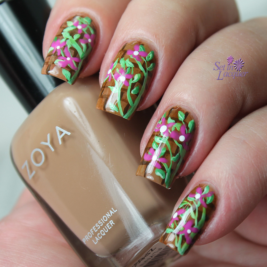 Climbing vines and floral nail art